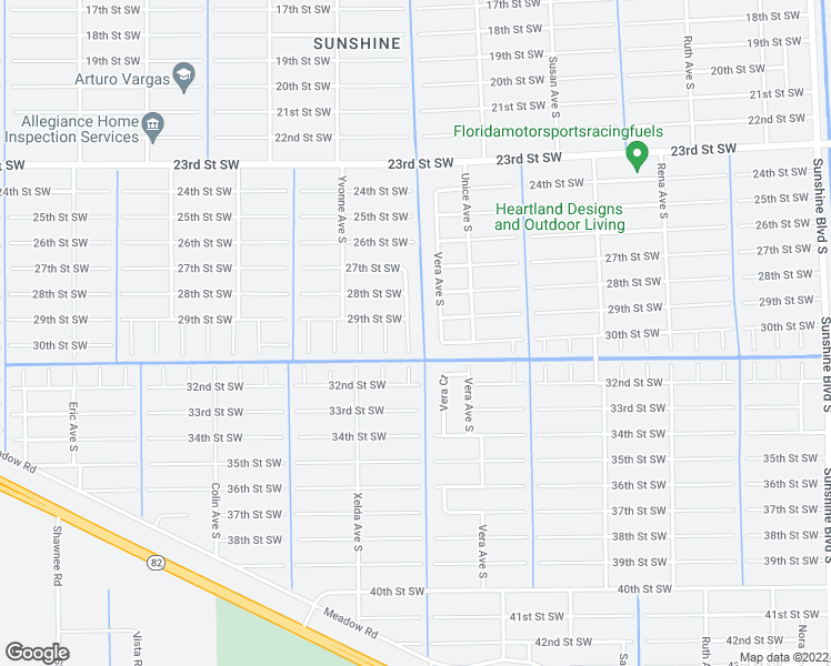 map of restaurants, bars, coffee shops, grocery stores, and more near 2905 Villa Avenue South in Lehigh Acres