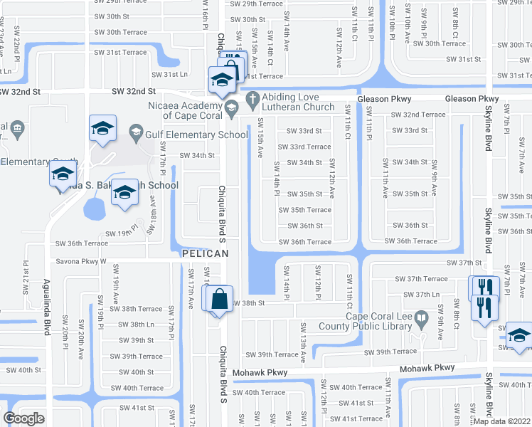 map of restaurants, bars, coffee shops, grocery stores, and more near 3519 Southwest 15th Avenue in Cape Coral