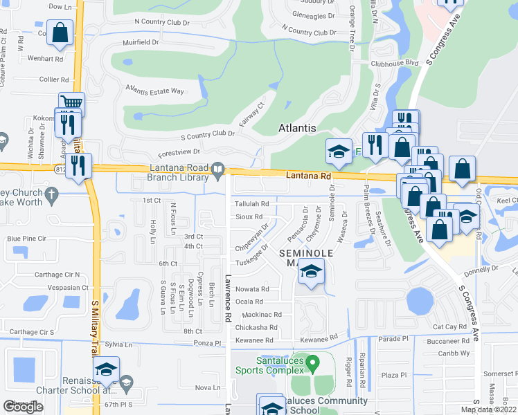 map of restaurants, bars, coffee shops, grocery stores, and more near 582 Tallulah Rd in Lake Worth