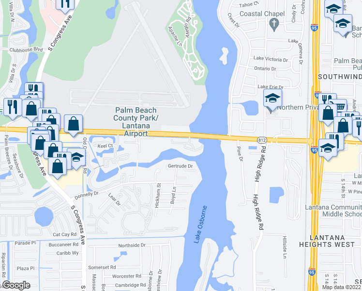 map of restaurants, bars, coffee shops, grocery stores, and more near 399 North Federal Highway in Lantana
