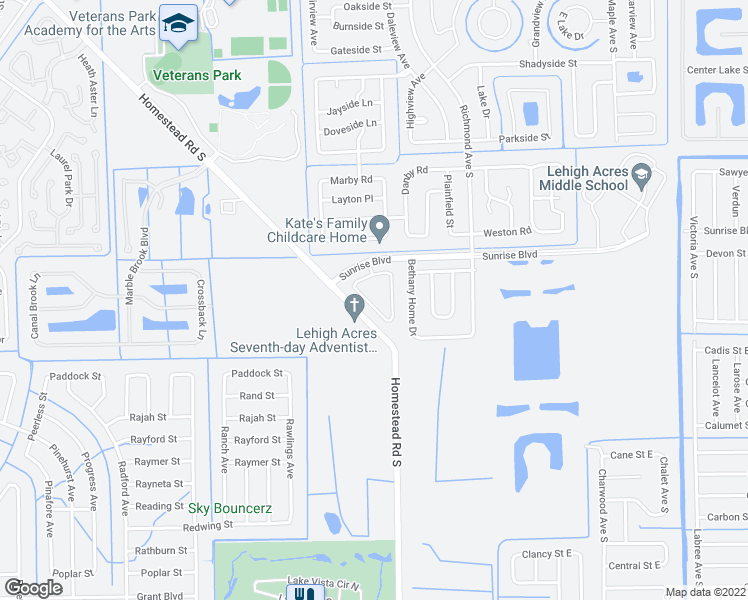 map of restaurants, bars, coffee shops, grocery stores, and more near 449 Bethany Village Circle in Lehigh Acres