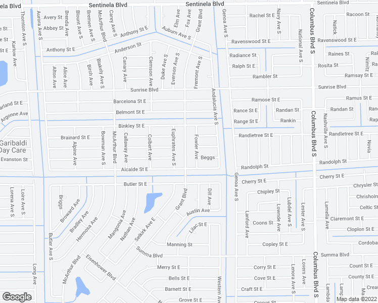 map of restaurants, bars, coffee shops, grocery stores, and more near 1112 Grant Boulevard in Lehigh Acres
