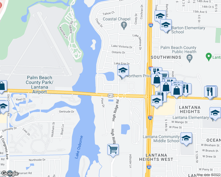 map of restaurants, bars, coffee shops, grocery stores, and more near 2102 Lake Bass Circle in Lake Worth