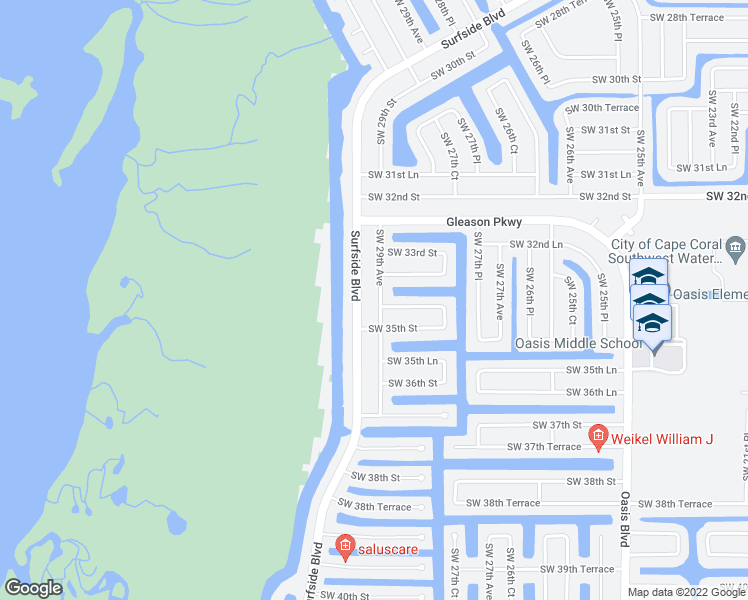 map of restaurants, bars, coffee shops, grocery stores, and more near 3406 Southwest 29th Avenue in Cape Coral