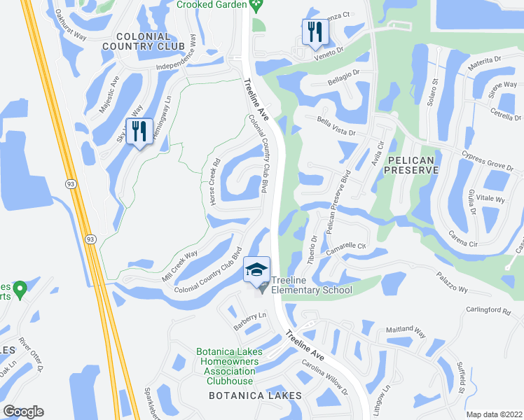 map of restaurants, bars, coffee shops, grocery stores, and more near 10105 Colonial Country Club Boulevard in Fort Myers