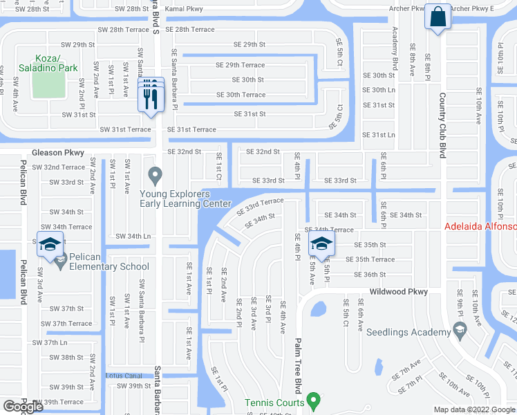 map of restaurants, bars, coffee shops, grocery stores, and more near 342 Southeast 33rd Terrace in Cape Coral