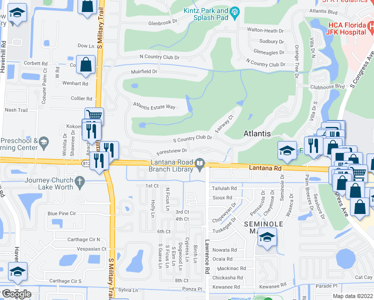 map of restaurants, bars, coffee shops, grocery stores, and more near 438 Forestview Drive in Atlantis