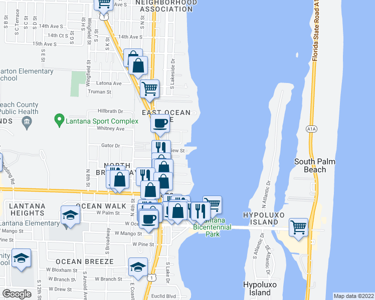 map of restaurants, bars, coffee shops, grocery stores, and more near 48 East View Street in Lantana