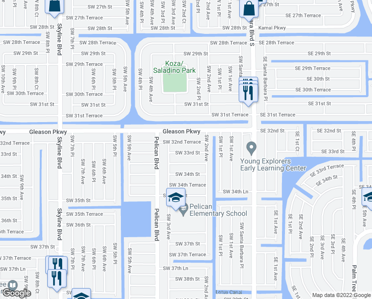 map of restaurants, bars, coffee shops, grocery stores, and more near 227 Southwest 33rd Street in Cape Coral