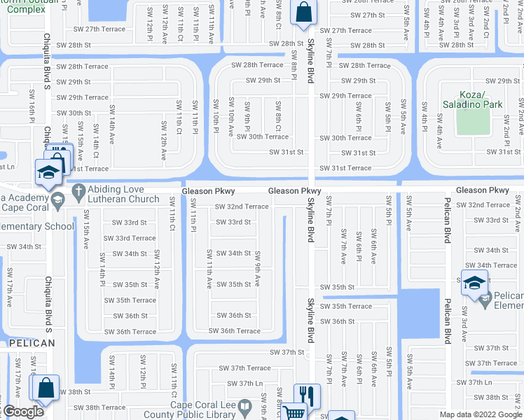 map of restaurants, bars, coffee shops, grocery stores, and more near 3217 Southwest 9th Avenue in Cape Coral