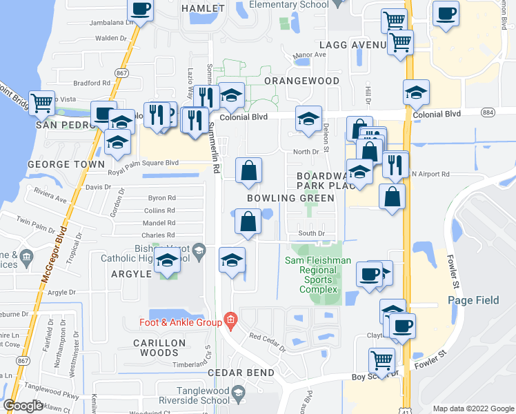 map of restaurants, bars, coffee shops, grocery stores, and more near 4757 Barkley Circle in Fort Myers