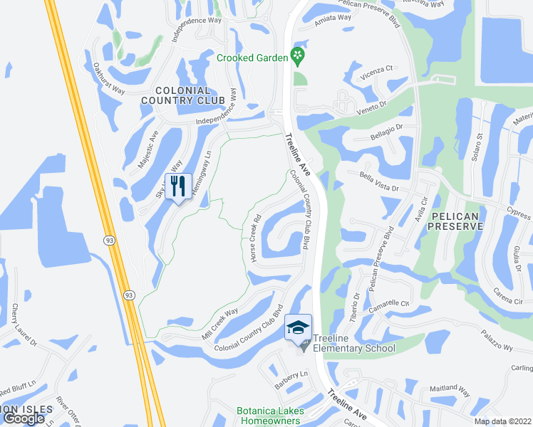 map of restaurants, bars, coffee shops, grocery stores, and more near 9949 Horse Creek Road in Fort Myers
