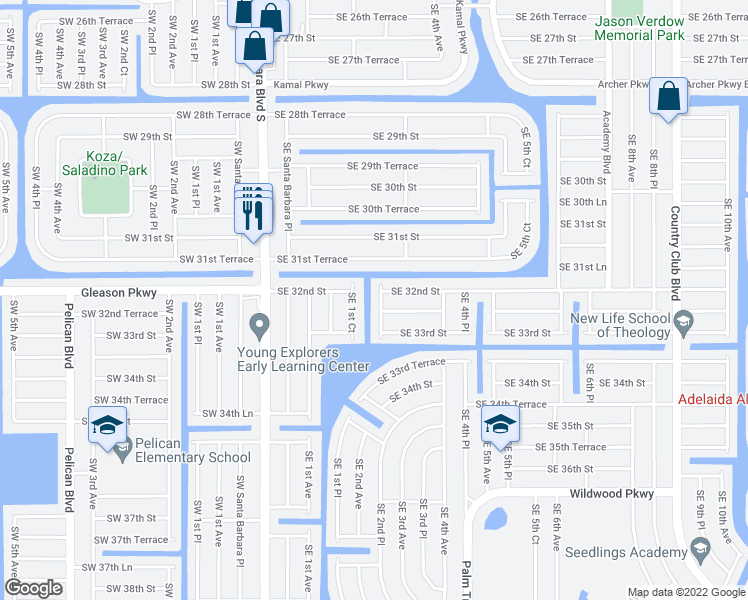 map of restaurants, bars, coffee shops, grocery stores, and more near 3214 Southeast 2nd Avenue in Cape Coral