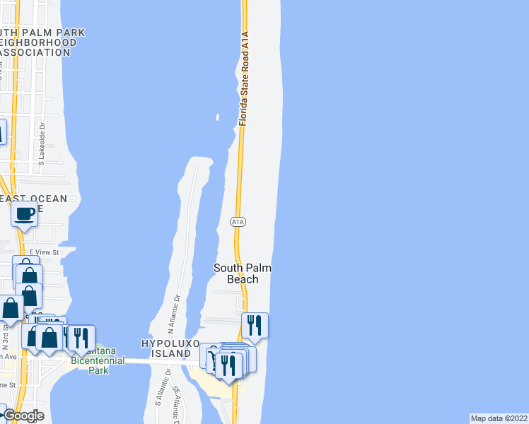map of restaurants, bars, coffee shops, grocery stores, and more near 101 North Ocean Drive in Hollywood