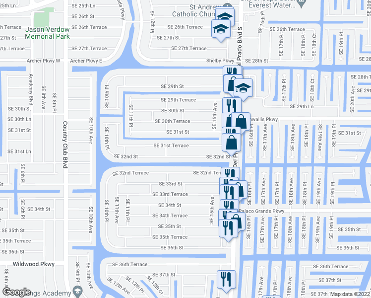 map of restaurants, bars, coffee shops, grocery stores, and more near 1402 Southeast 31st Terrace in Cape Coral