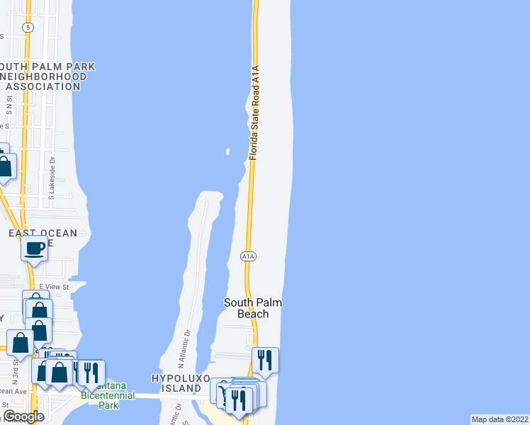 map of restaurants, bars, coffee shops, grocery stores, and more near 3474 South Ocean Boulevard in Palm Beach