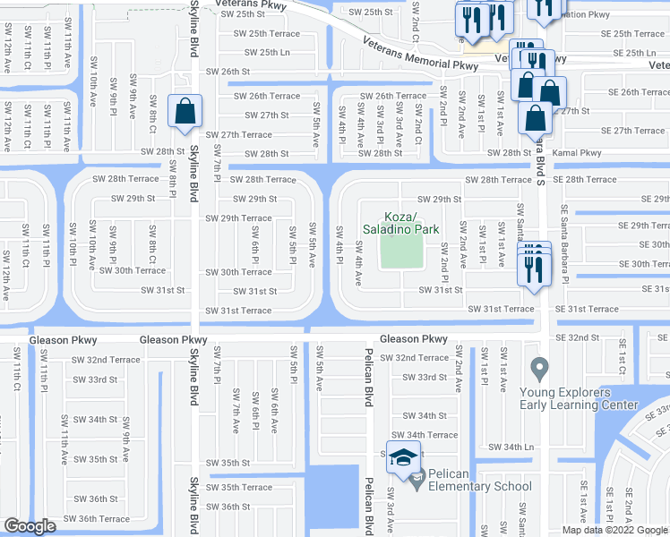 map of restaurants, bars, coffee shops, grocery stores, and more near 3014 Southwest 4th Place in Cape Coral