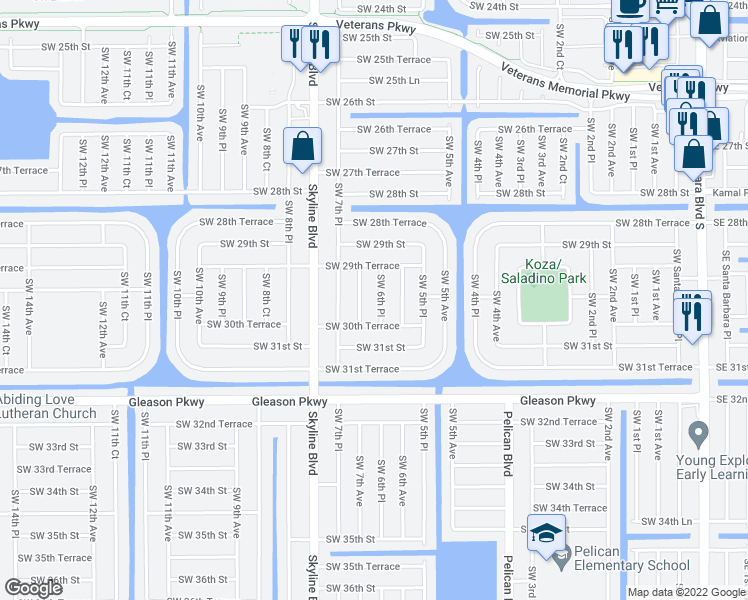 map of restaurants, bars, coffee shops, grocery stores, and more near 3002 Southwest 6th Place in Cape Coral