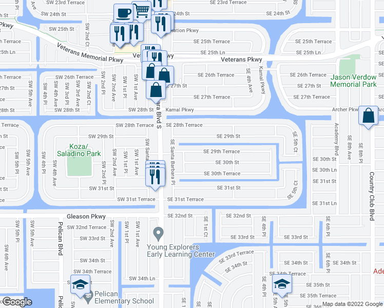 map of restaurants, bars, coffee shops, grocery stores, and more near 138 Southeast 29th Terrace in Cape Coral