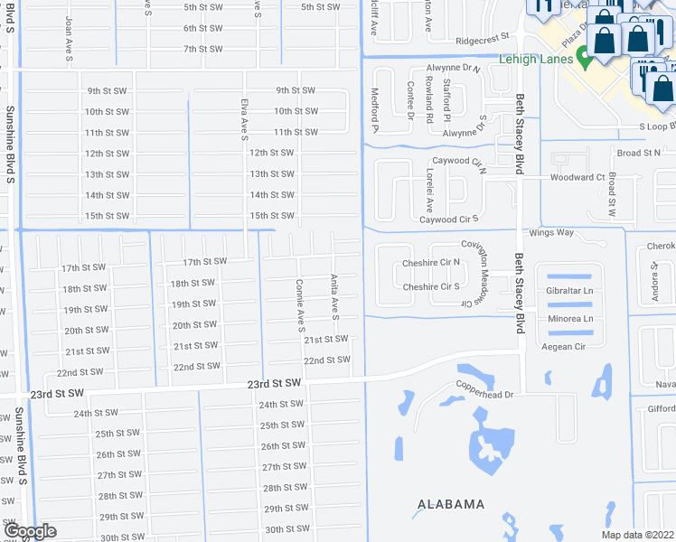 map of restaurants, bars, coffee shops, grocery stores, and more near 2506 18th Street Southwest in Lehigh Acres