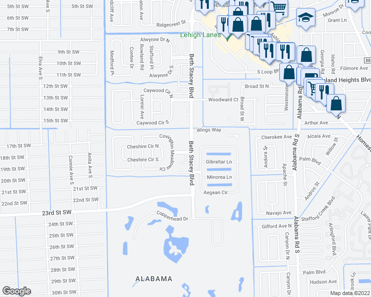 map of restaurants, bars, coffee shops, grocery stores, and more near 59 Camelot Gardens Boulevard in Lehigh Acres