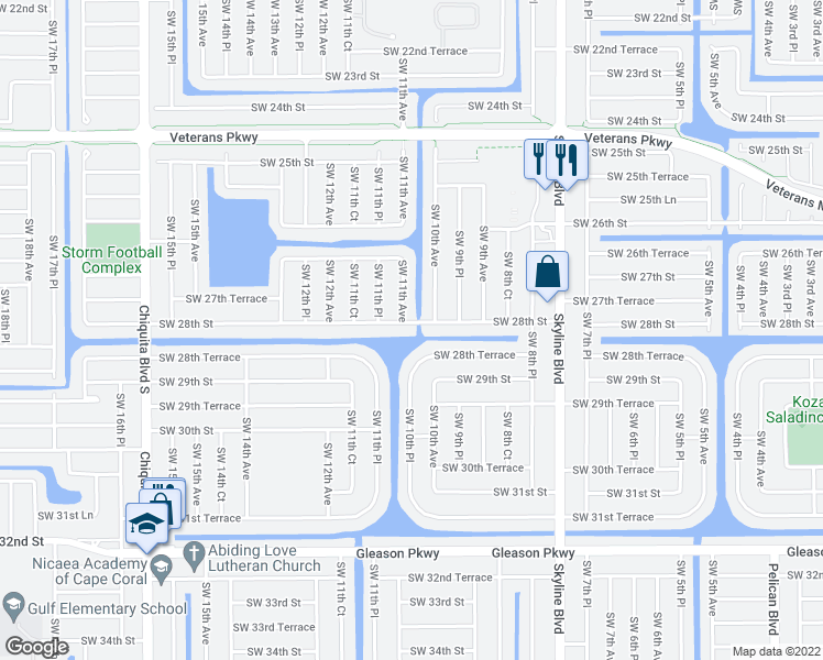 map of restaurants, bars, coffee shops, grocery stores, and more near 1010 Southwest 28th Street in Cape Coral