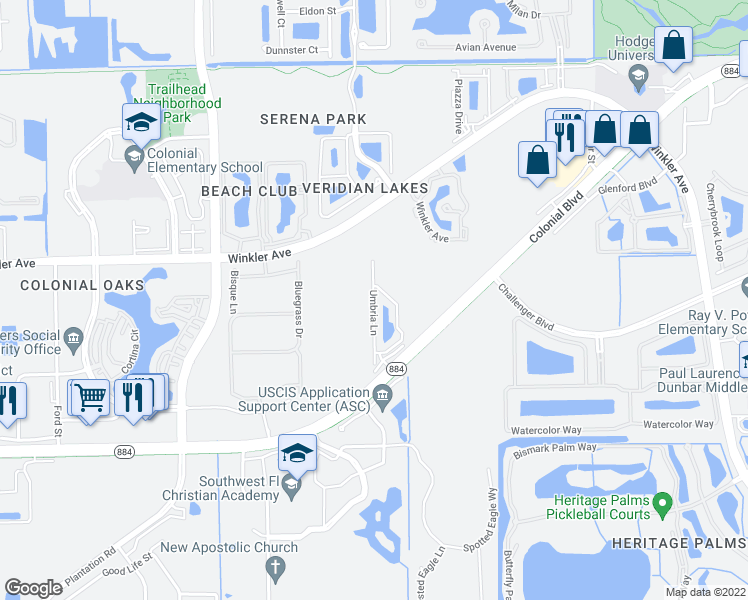 map of restaurants, bars, coffee shops, grocery stores, and more near 4180 Umbria Lane in Fort Myers