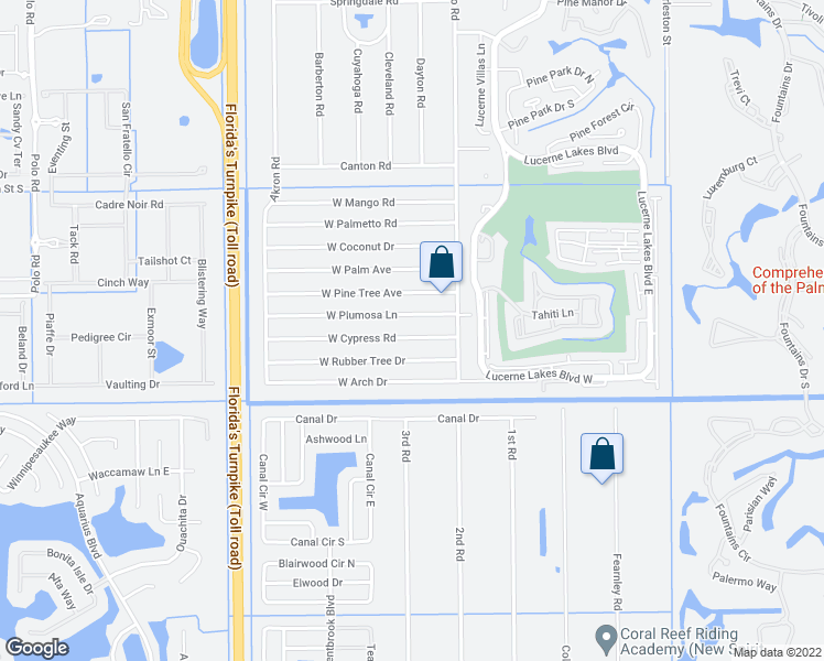 map of restaurants, bars, coffee shops, grocery stores, and more near 32 West Cypress Road in Lake Worth