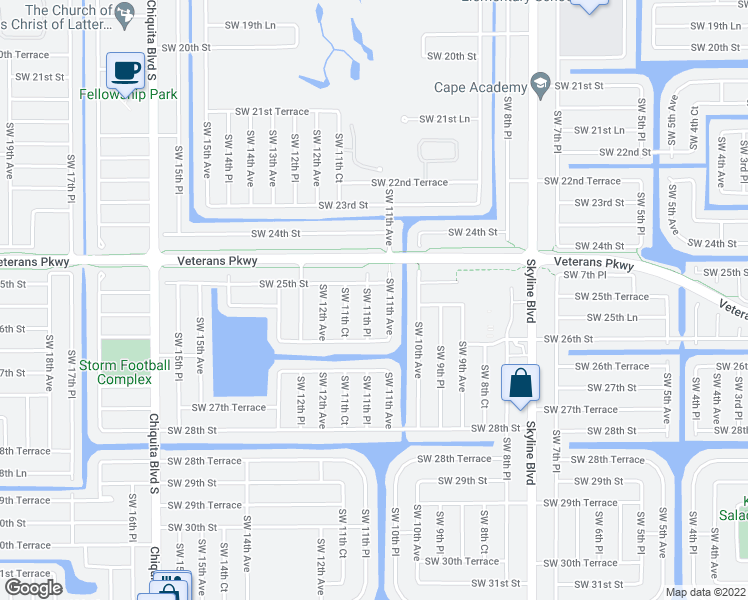 map of restaurants, bars, coffee shops, grocery stores, and more near 2517 Southwest 11th Place in Cape Coral