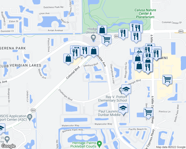 map of restaurants, bars, coffee shops, grocery stores, and more near 4590 Winkler Avenue in Fort Myers