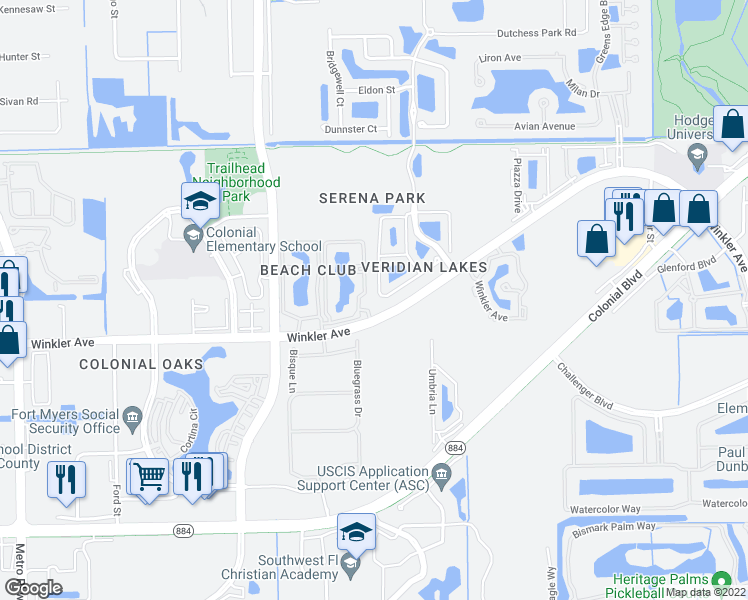 map of restaurants, bars, coffee shops, grocery stores, and more near 3864 Tilbor Circle in Fort Myers
