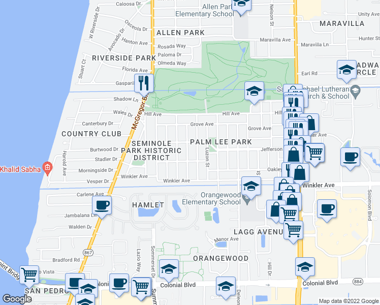 map of restaurants, bars, coffee shops, grocery stores, and more near 3833 La Palma Street in Fort Myers