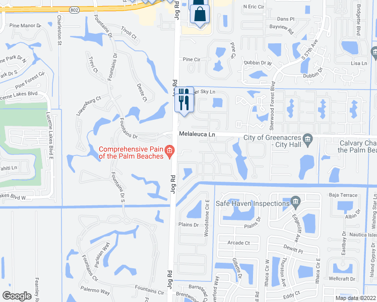 map of restaurants, bars, coffee shops, grocery stores, and more near 4760 Jog Road in Greenacres