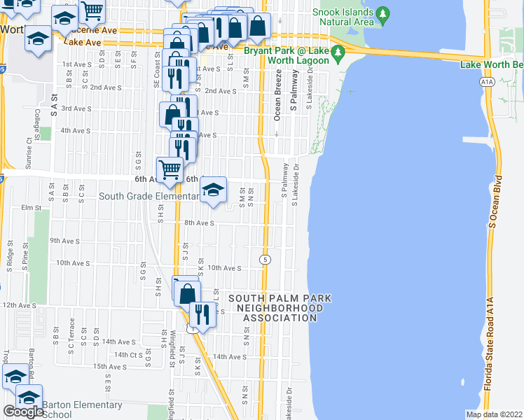 map of restaurants, bars, coffee shops, grocery stores, and more near 711 South Federal Highway in Lake Worth