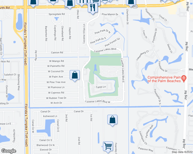 map of restaurants, bars, coffee shops, grocery stores, and more near Tahiti Lane in Lake Worth