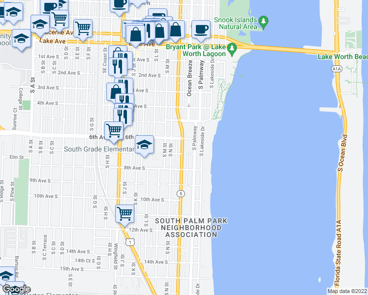 map of restaurants, bars, coffee shops, grocery stores, and more near 602 Federal Highway in Lake Worth