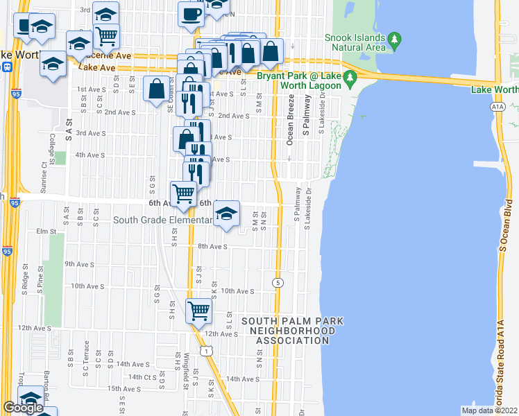map of restaurants, bars, coffee shops, grocery stores, and more near 405 6th Avenue South in Lake Worth