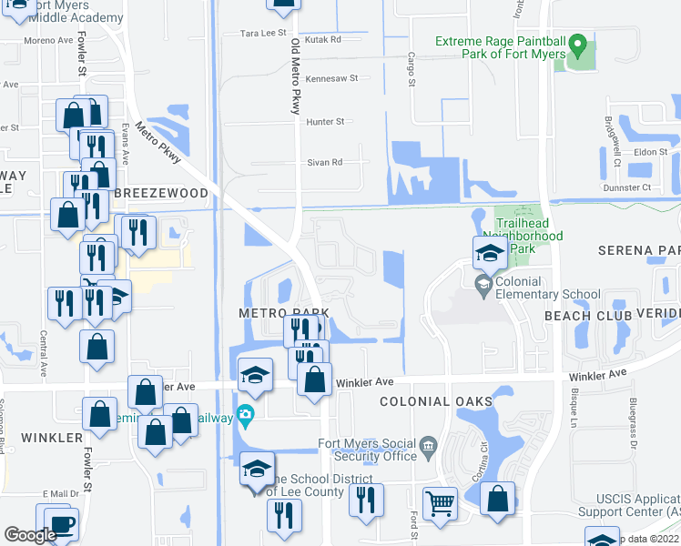 map of restaurants, bars, coffee shops, grocery stores, and more near 3618 Pine Oak Circle in Fort Myers