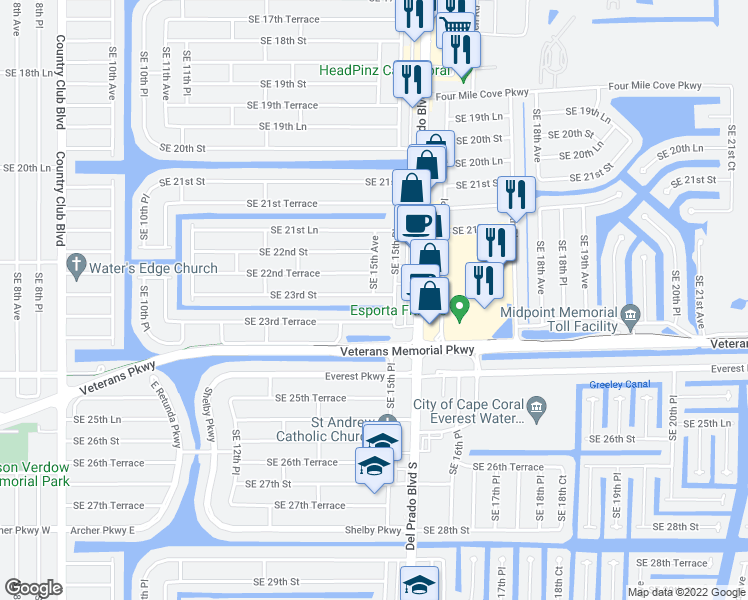 map of restaurants, bars, coffee shops, grocery stores, and more near 1438 Southeast 23rd Street in Cape Coral