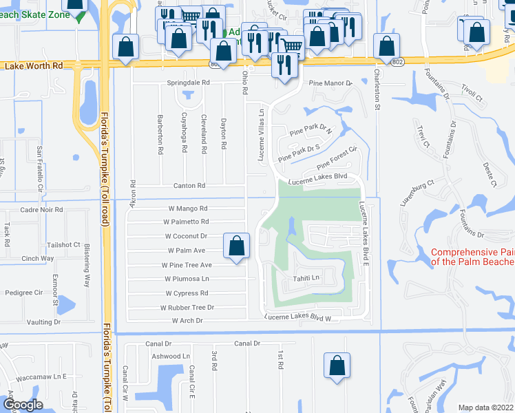 map of restaurants, bars, coffee shops, grocery stores, and more near 4640 Lucerne Lakes Boulevard West in Lake Worth