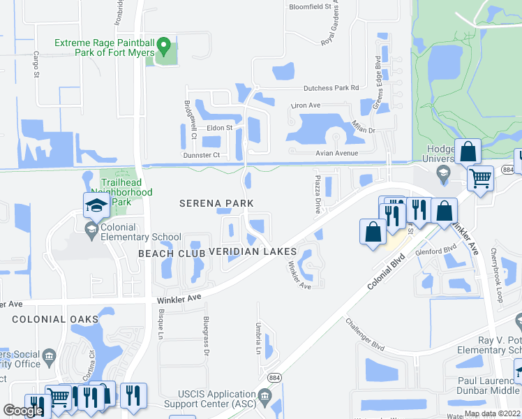 map of restaurants, bars, coffee shops, grocery stores, and more near 3735 Crofton Court in Fort Myers