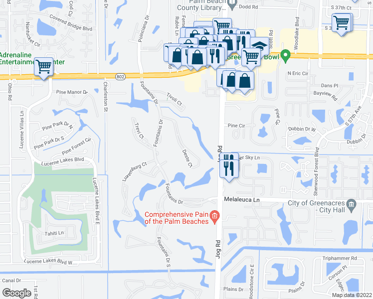 map of restaurants, bars, coffee shops, grocery stores, and more near 4260 Deste Court in Lake Worth