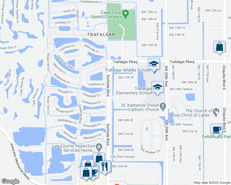 map of restaurants, bars, coffee shops, grocery stores, and more near 1802 Southwest 23rd Court in Cape Coral