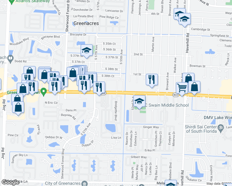 map of restaurants, bars, coffee shops, grocery stores, and more near 5656 Lake Worth Road in Lake Worth