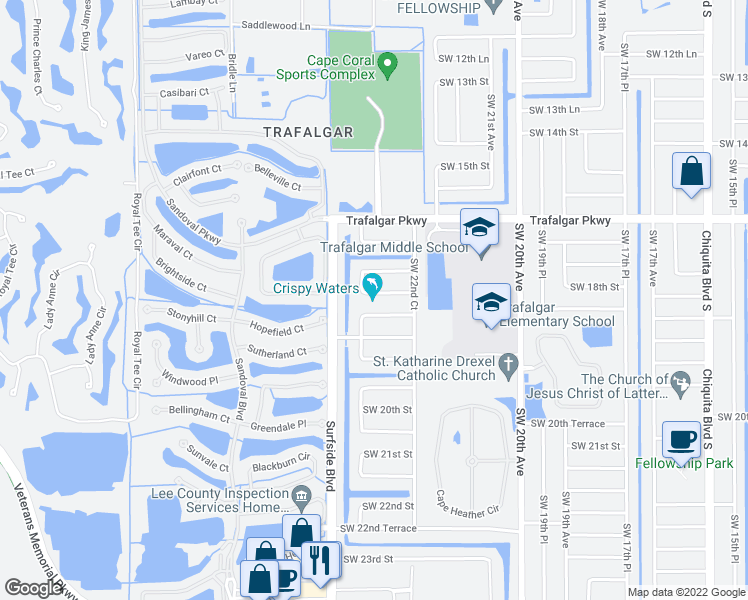 map of restaurants, bars, coffee shops, grocery stores, and more near 2318 Southwest 17th Terrace in Cape Coral