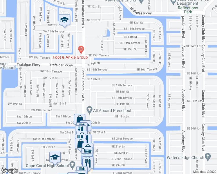 map of restaurants, bars, coffee shops, grocery stores, and more near 156 Southeast 17th Terrace in Cape Coral