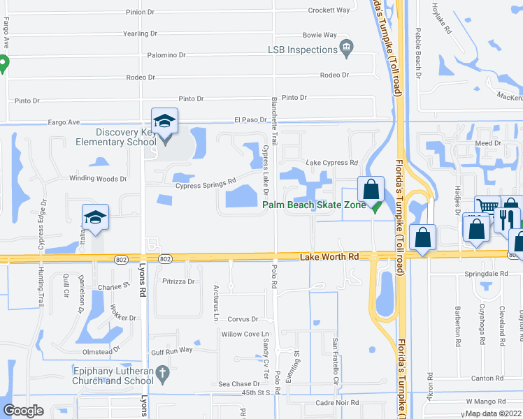 map of restaurants, bars, coffee shops, grocery stores, and more near 3811 Cypress Lake Drive in Lake Worth