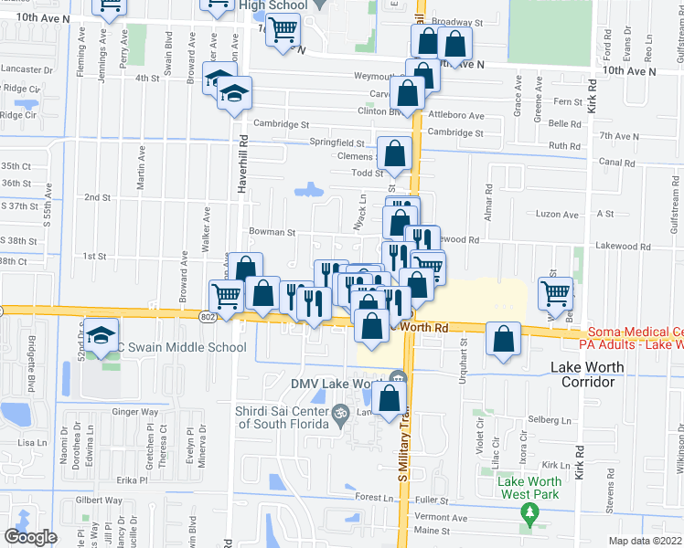 map of restaurants, bars, coffee shops, grocery stores, and more near 3789 Mil-Pond Court in Greenacres