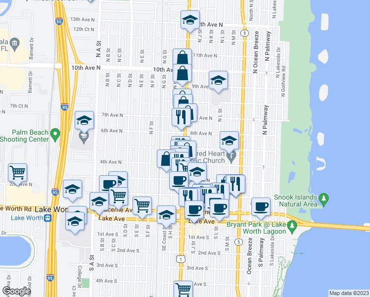 Lake Worth Florida Map.N Dixie Hwy 5th Ave N Lake Worth Fl Walk Score