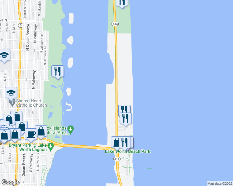map of restaurants, bars, coffee shops, grocery stores, and more near 2780 South Ocean Boulevard in Palm Beach